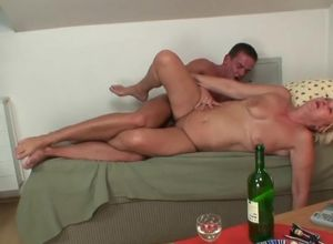 Tipsy blondie motherinlaw longing his..