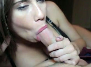 Nice gf gives spunky blowjob, when bf..