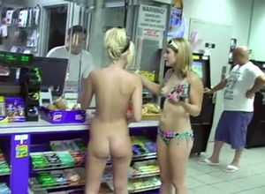2 uber-cute bare shoppers overwhelmed..