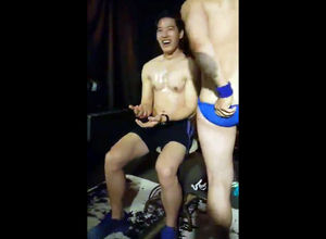 Chinese masculine Striptease in night..
