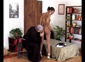 Older priest takes off youngster..