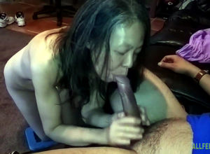 Chinese slutwife measuring man-meat at..