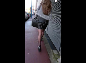 Spunk on leather mini-skirt when she..
