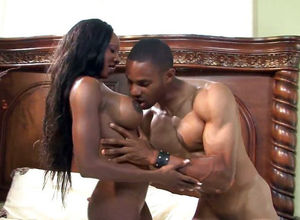 Handsome ebony Cougar Diamond Jackson,..