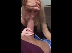 Light-haired Girlfriend deep-throating..