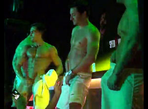 Trio masculine strippers dancing and..