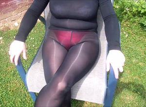 Cock-squeezing nylon stockings