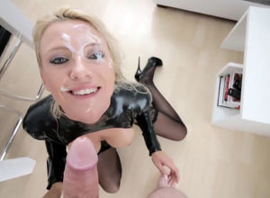 Bangable honey in spandex suit facial..