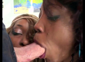 2 ebony breezies gives inhale blowjob.